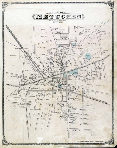 Antique map of Metuchen from 1876