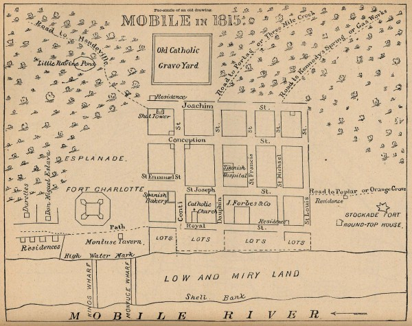 Antique map of Mobile from 1815