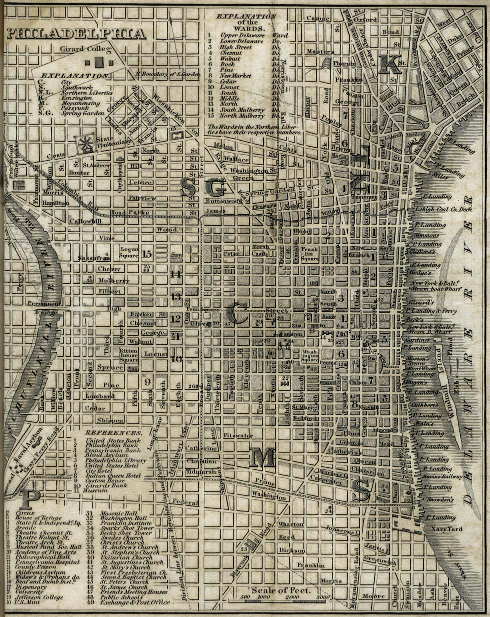 Antique map of Philadelphia from 1842 philadelphia pennsylvania