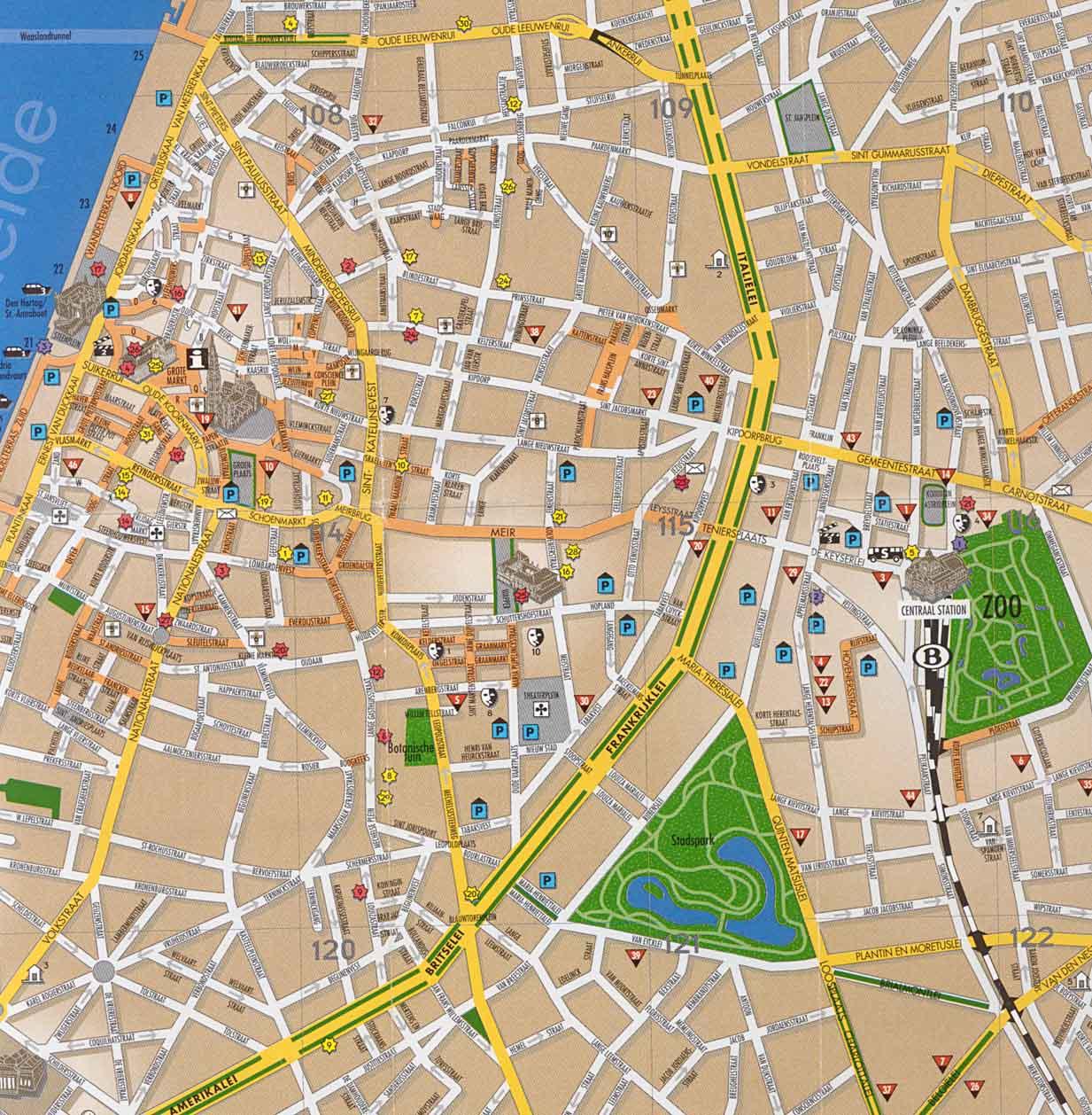 Antwerp Tourist Map Antwerp Belgium mappery