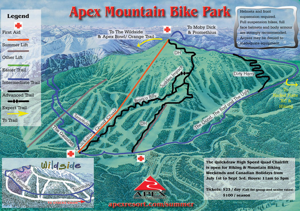 Apex Mountain Resort Biking Ski Trail Map