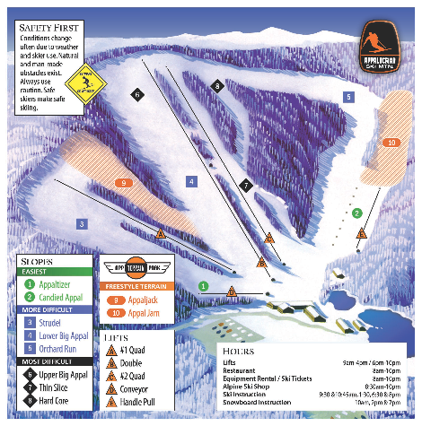 Appalachian Ski Mtn. Ski Trail Map