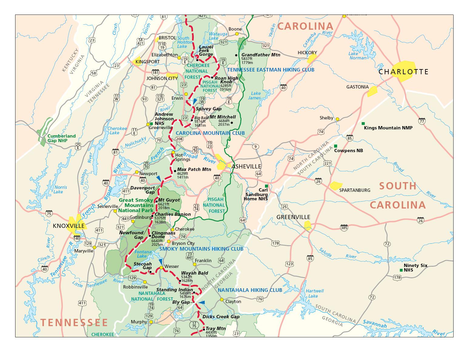 Appalachian Trail In North Carolina Map  Burnsville North