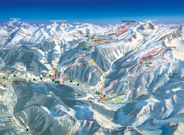 Arèches Ski Trail Map