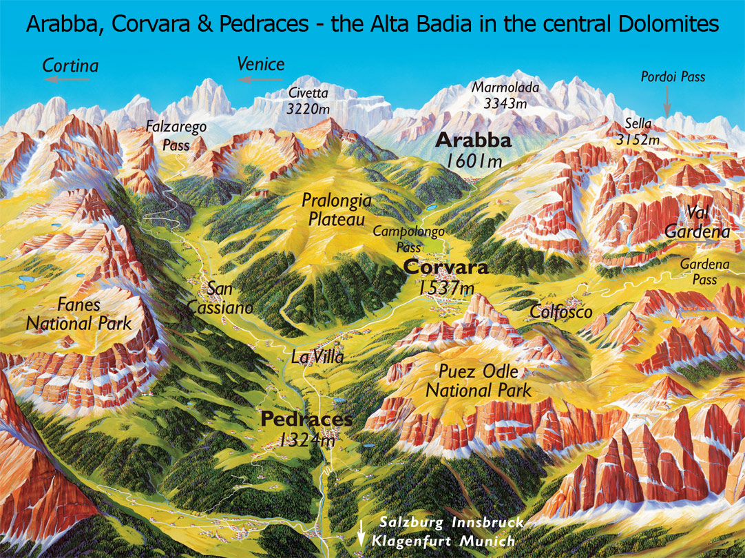 Arabba Corvara Pedraces Summer Map Corvara Italy mappery