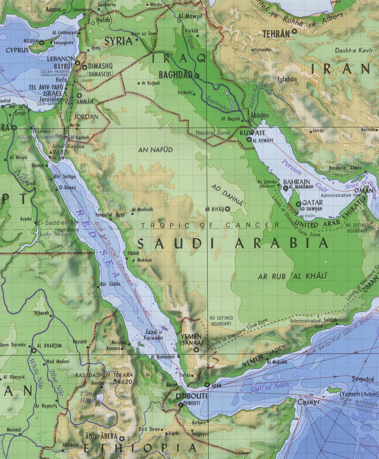 Arabia and Red Sea Elevation Map saudia arabia mappery