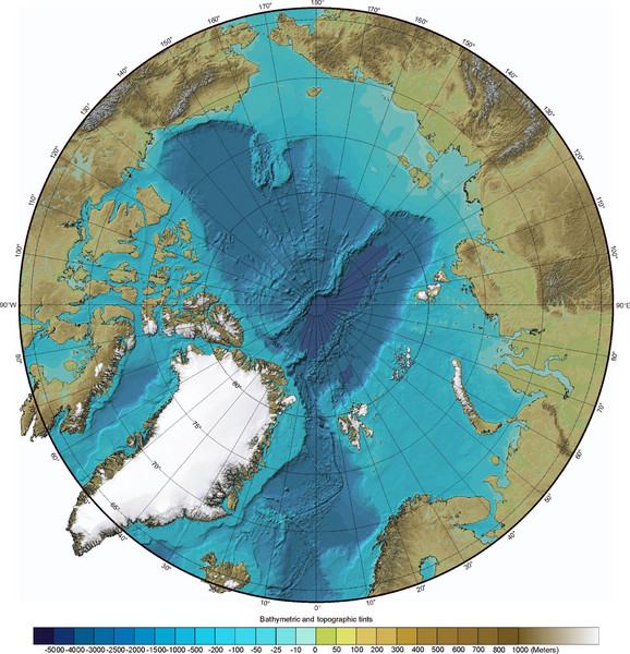 Arctic Ocean Bathymetric Map