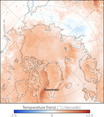 Arctic Temperature Change: 1987 -- 2007 Map