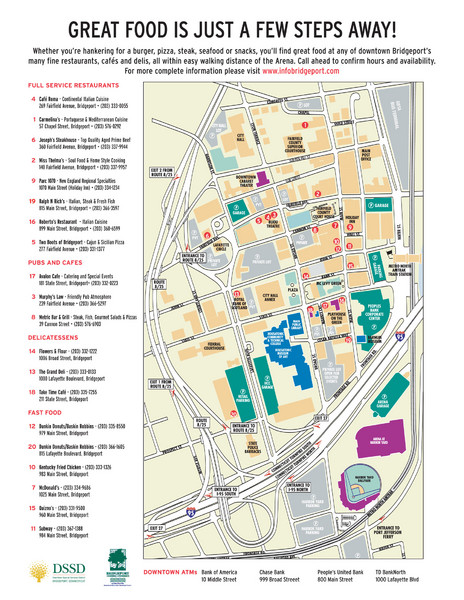 Arena at Harbor Yard Restaurants Map