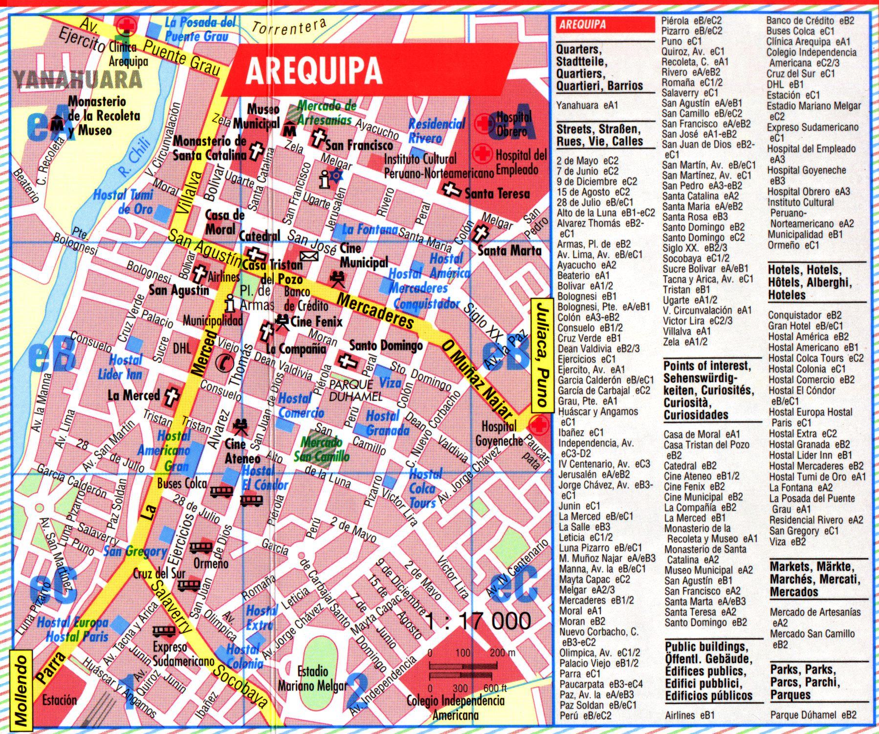 Arequipa Tourist Map Arequipa Peru Mappery