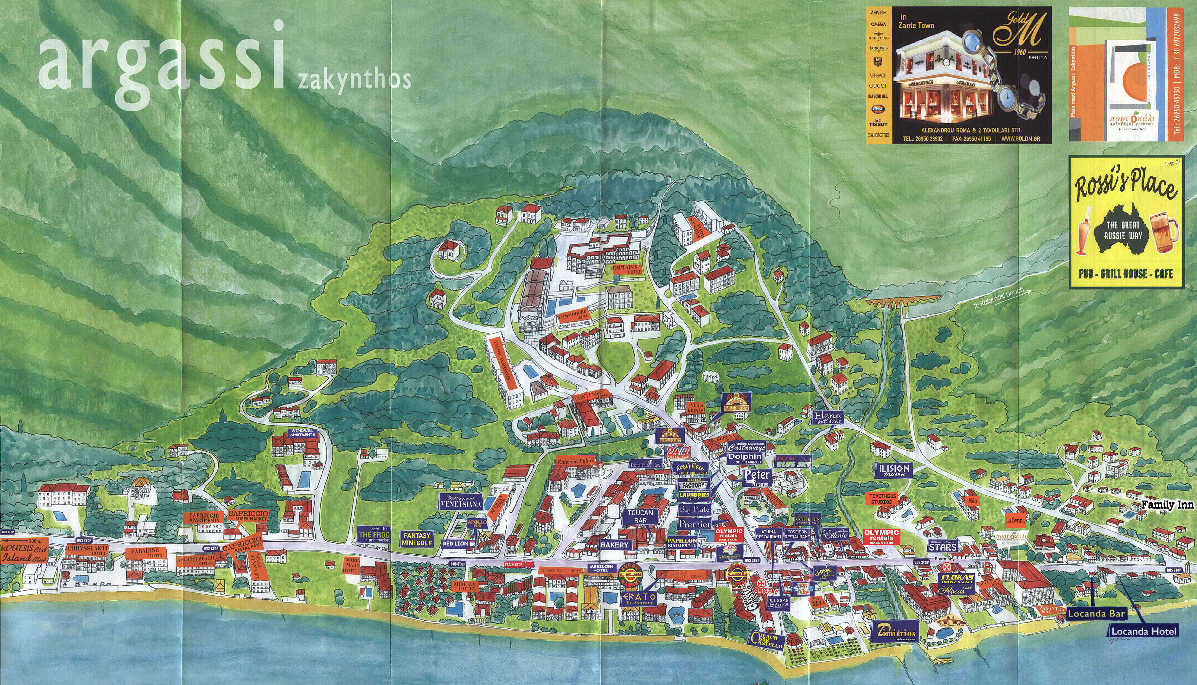 Argassi tourist map argassi zakynthos greece mappery gumiabroncs Choice Image