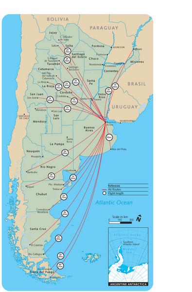 Argentina Flight Map - Argentina • mappery