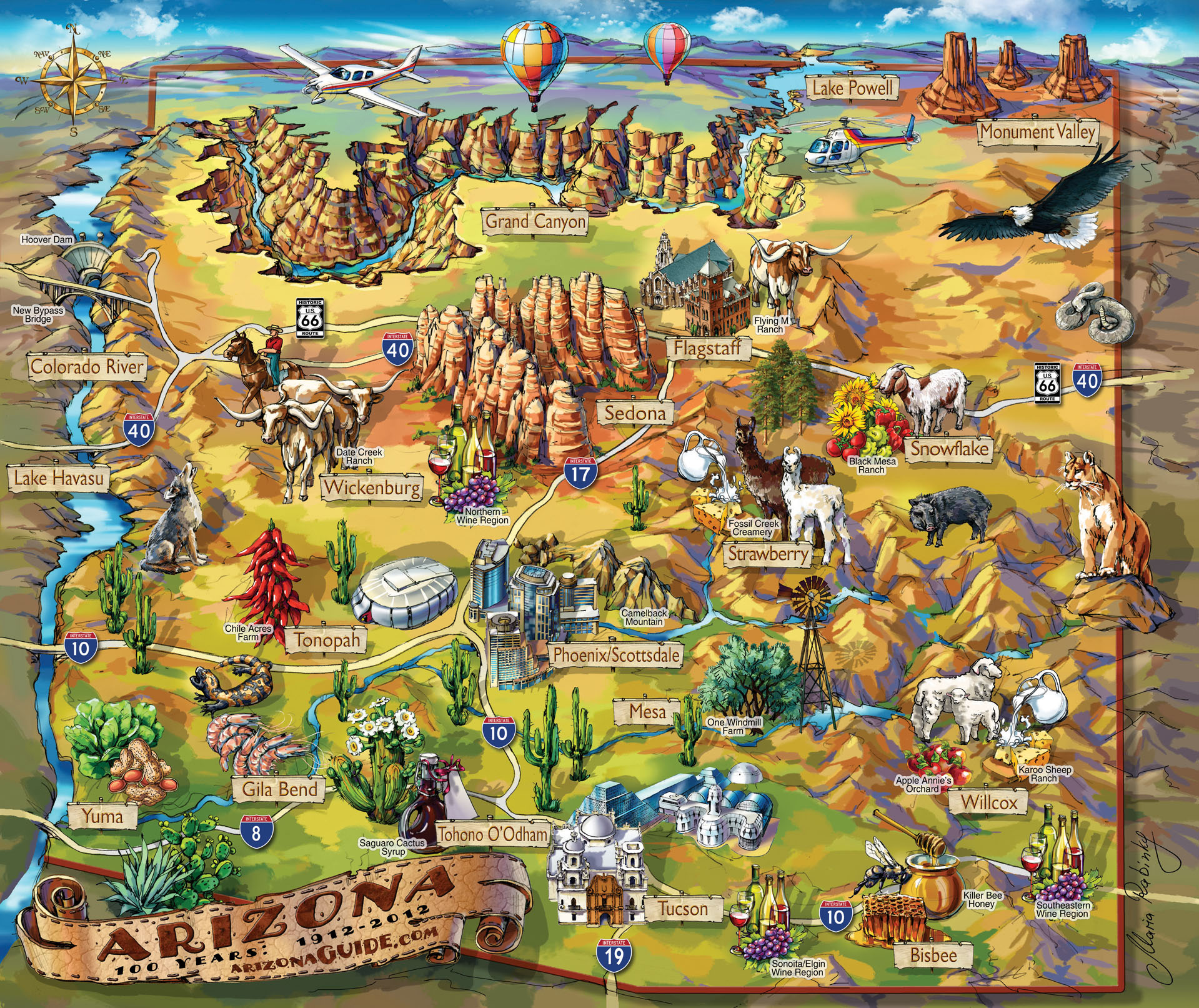 Arizona Fun Map arizona mappery