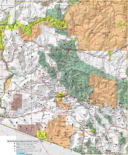 Arizona Prominance Map - Arizona • mappery