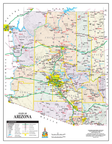 A Map Of Arizona State.Arizona State Road Map Arizona Us Mappery