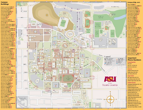Arizona State University, Tempe Camous Map