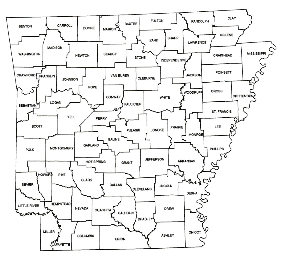 Arkansas Historical County Map   arkansas • mappery