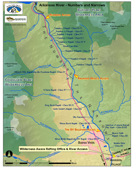 Arkansas River Numbers and Narrows Rafting Map - Buena Vista ...