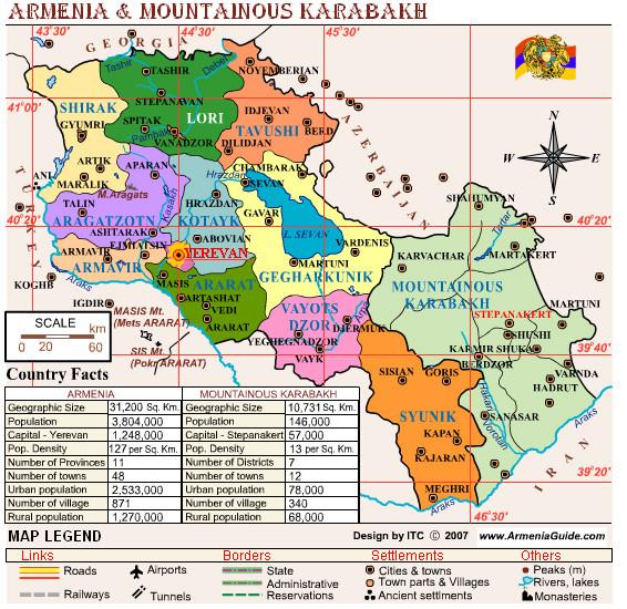 Armenia and Nagorny Karabakh Map Armenia mappery