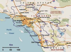 Armenia overlaid over southern California Map