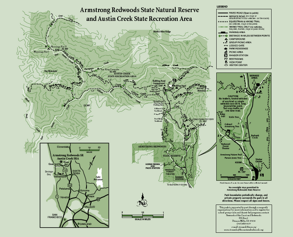 Armstrong Redwoods State Natural Reserve Map and Austin Creek State Recreation Area Map