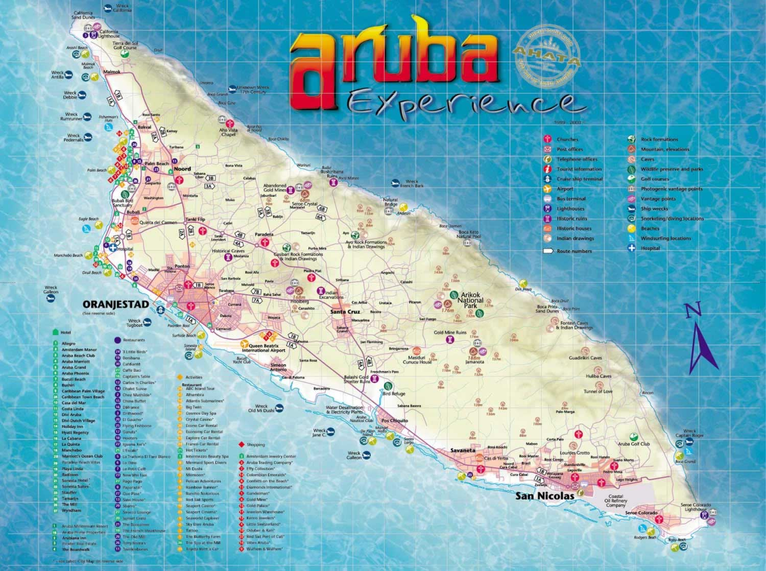 Aruba Tourist Map Aruba Mappery - Caribbean map aruba