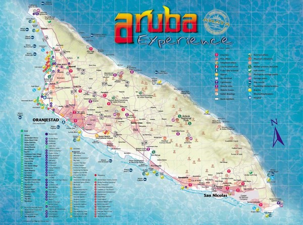 real life map collection mappery – Aruba Tourist Attractions Map