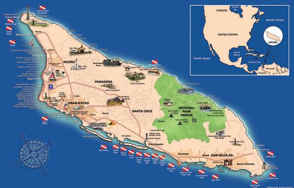 Aruba Tourist Map Aruba mappery