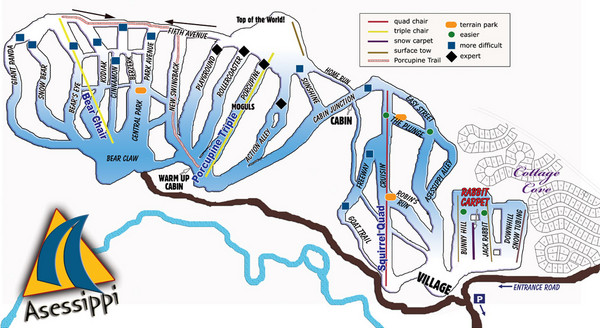Asessippi Winter Park Ski Trail Map