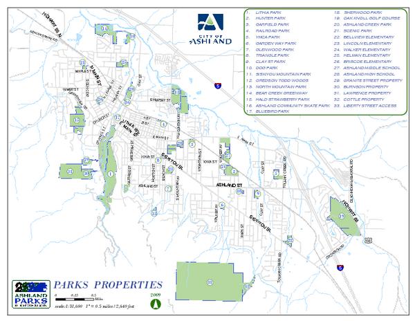 Ashland Park Map   Ashland Oregon • mappery