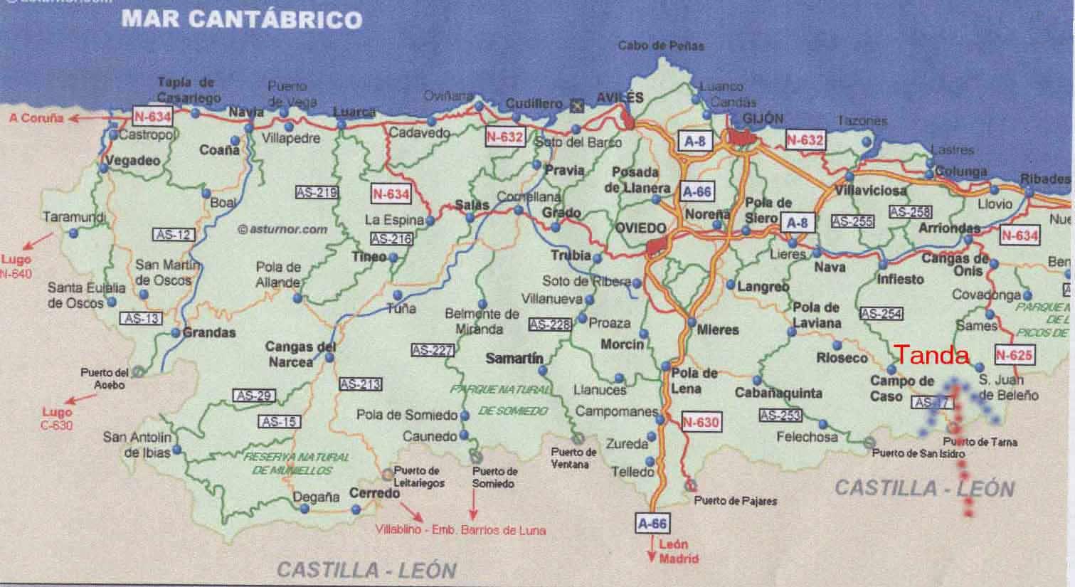 Asturias Regional Map Austurias Mappery