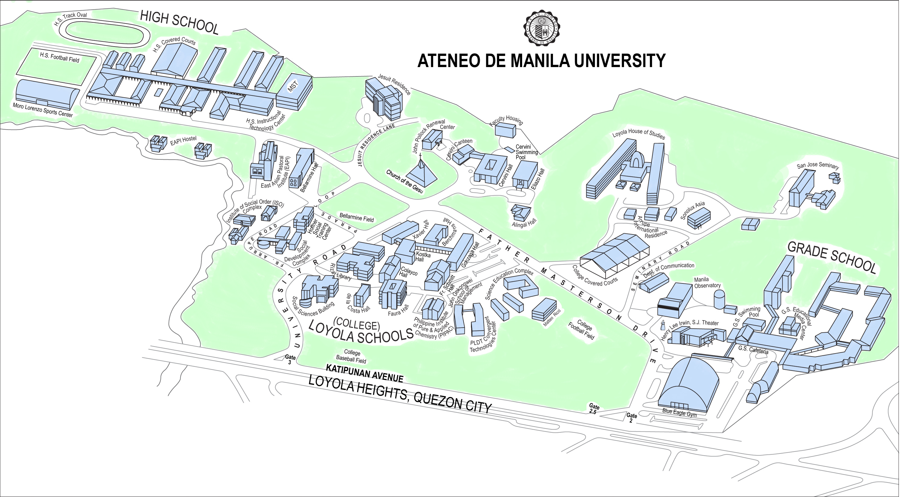 ateneo de manila campus map Ateneo De Manila University Loyola Heights Campus Map Katipunan ateneo de manila campus map