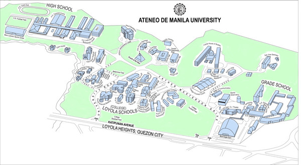 University High School Campus Map.Ateneo De Manila University Loyola Heights Campus Map Katipunan