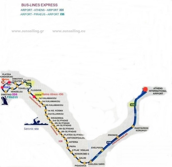 Athen Airport Bus Line Map