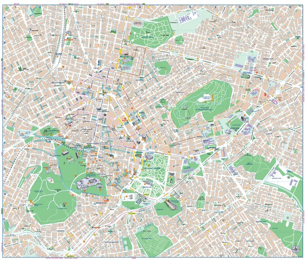City map of Athens, Greece. Shows parks and points of interest. From eeae.gr