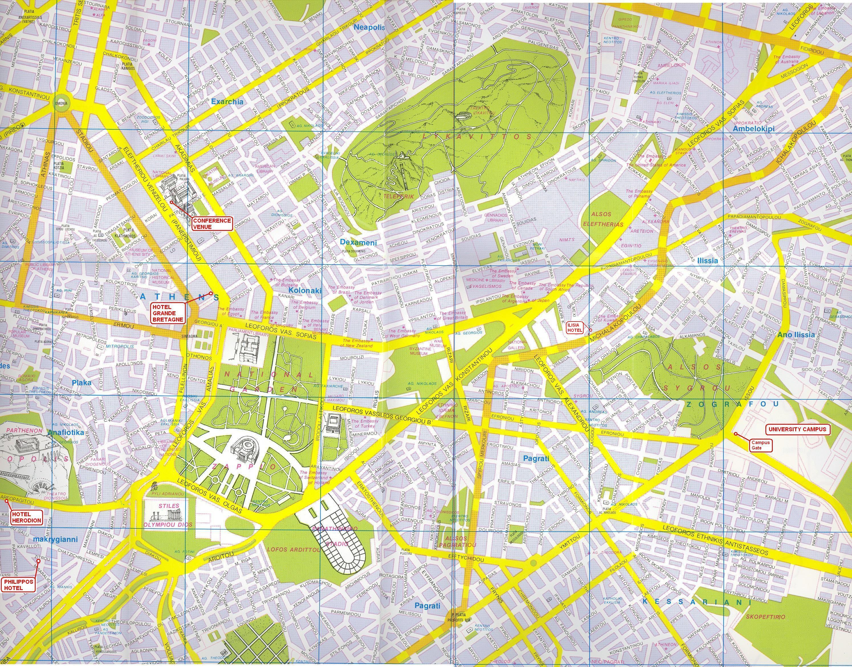 Athens City Map - Athens Greece • mappery