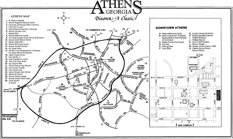 Athens Georgia City Map Athens Georgia Mappery - Georgia city map