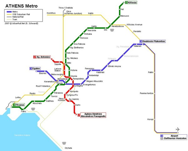 Athens Metro Map Athens Mappery