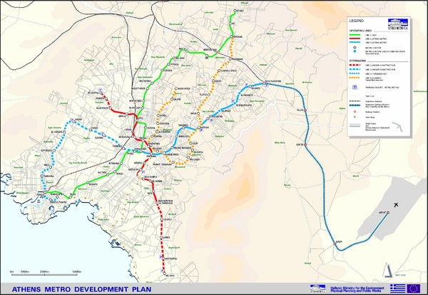 Athens Metro Transportation Map