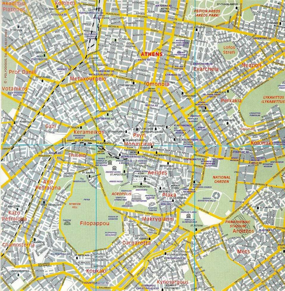 Mapa del centro de Atenas