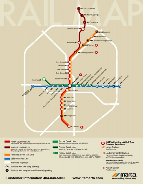 Atlanta MARTA Rail Map  Atlanta GA  Mappery