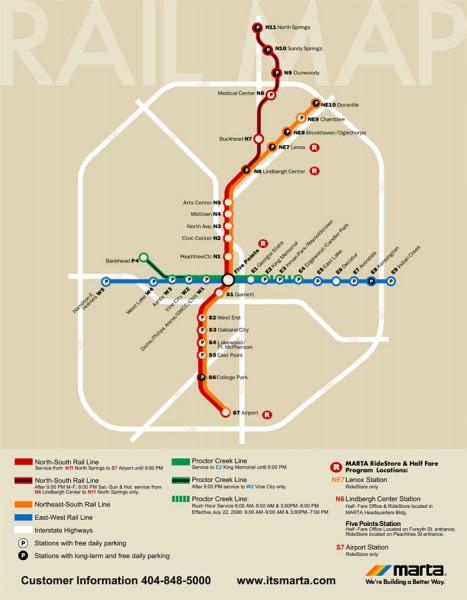 Atlanta MARTA Rail Map  Atlanta GA  Mappery