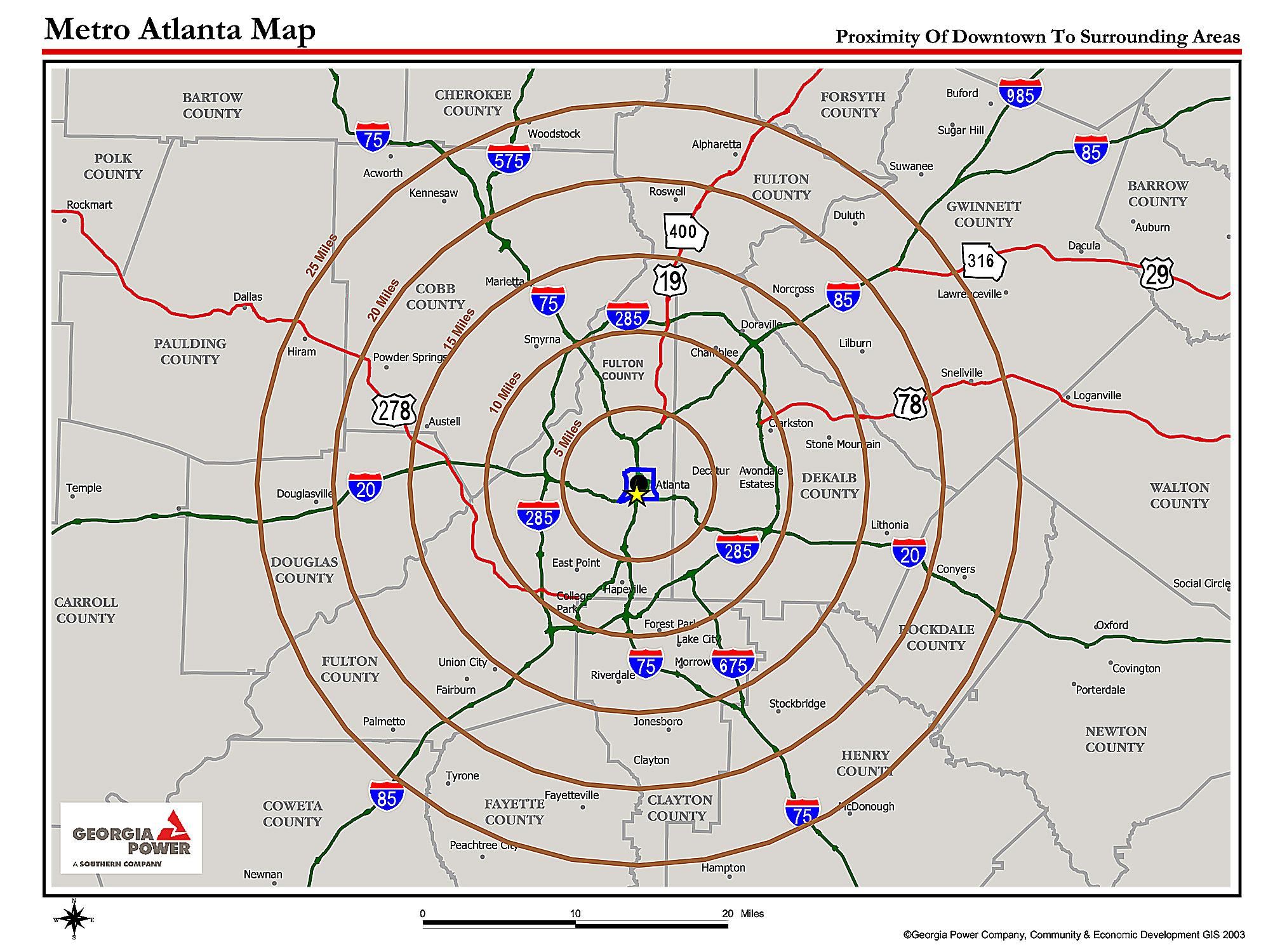 Atlanta Metro Proximity Ring Map Atlanta Georgia Mappery