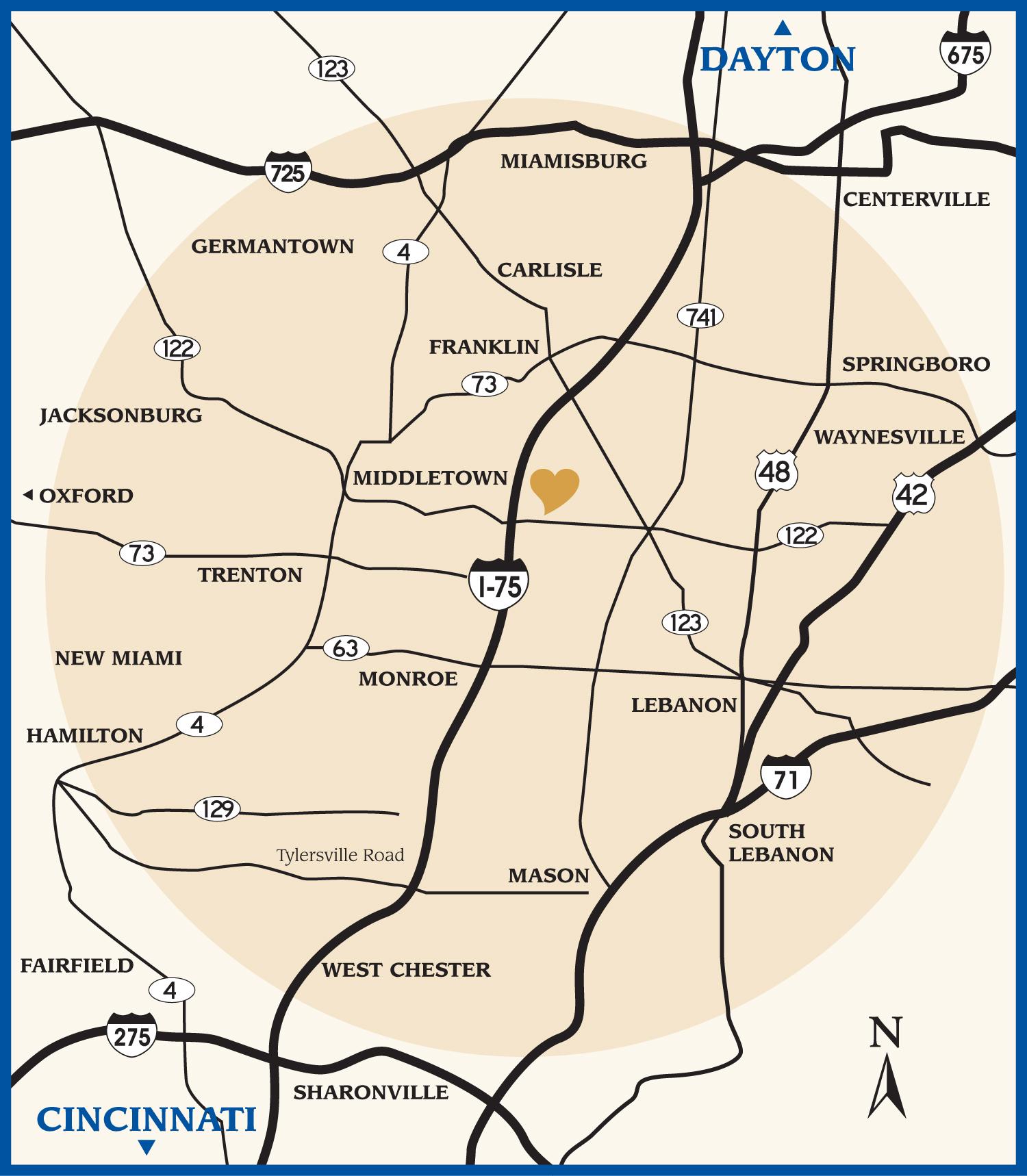 Atrium County Map Middletown Ohio Usa Mappery