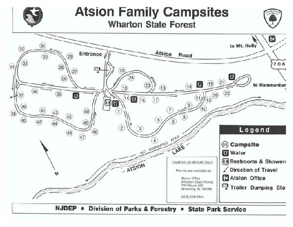 Atsion Campground Map Hammonton Nj 08037 Mappery