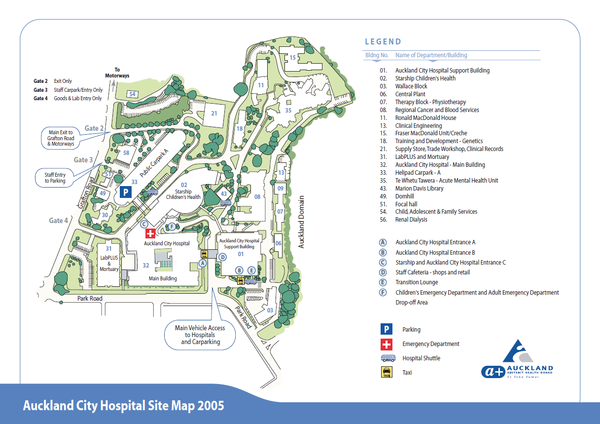 Auckland City Hospital Site Map 2005