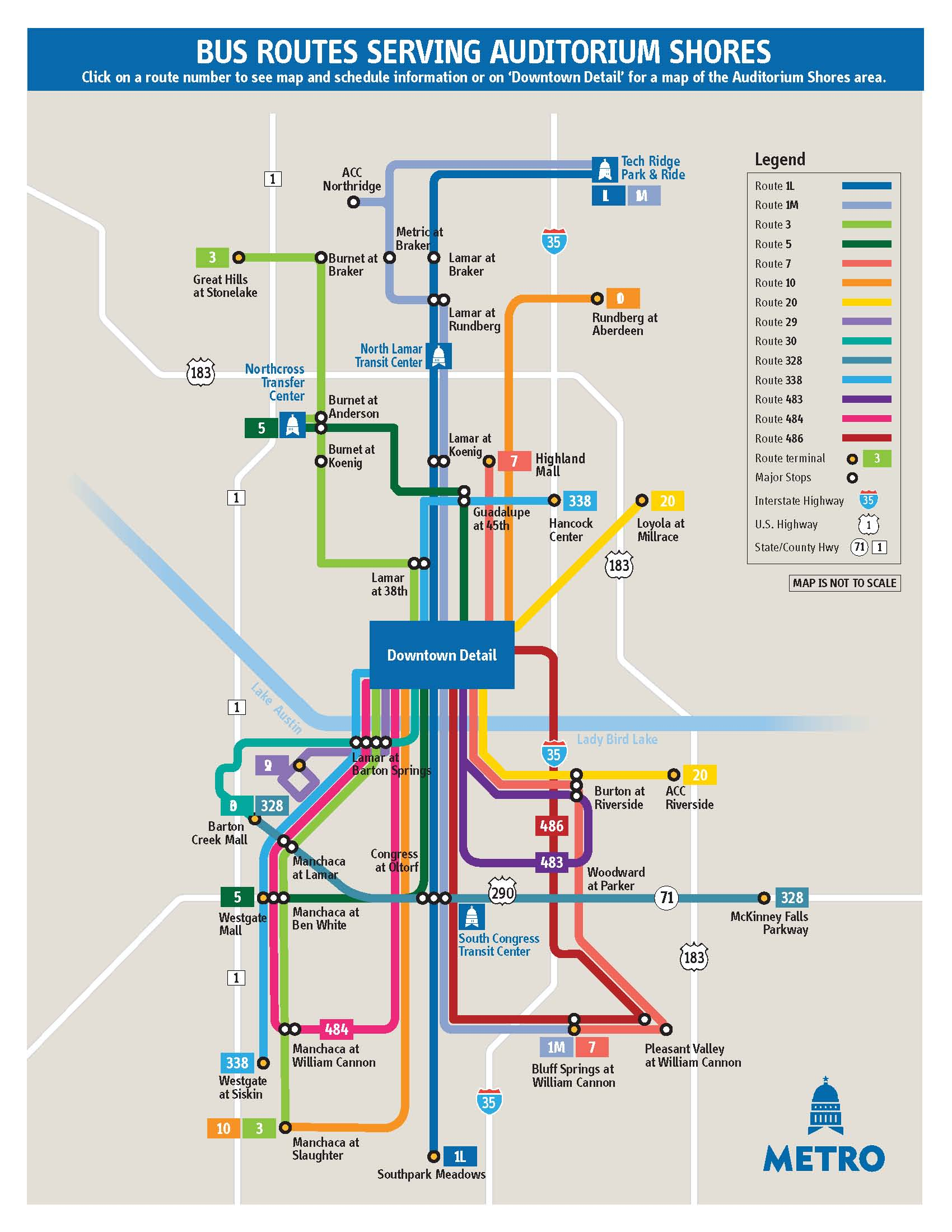 auditorium shores routes map - austin tx • mappery