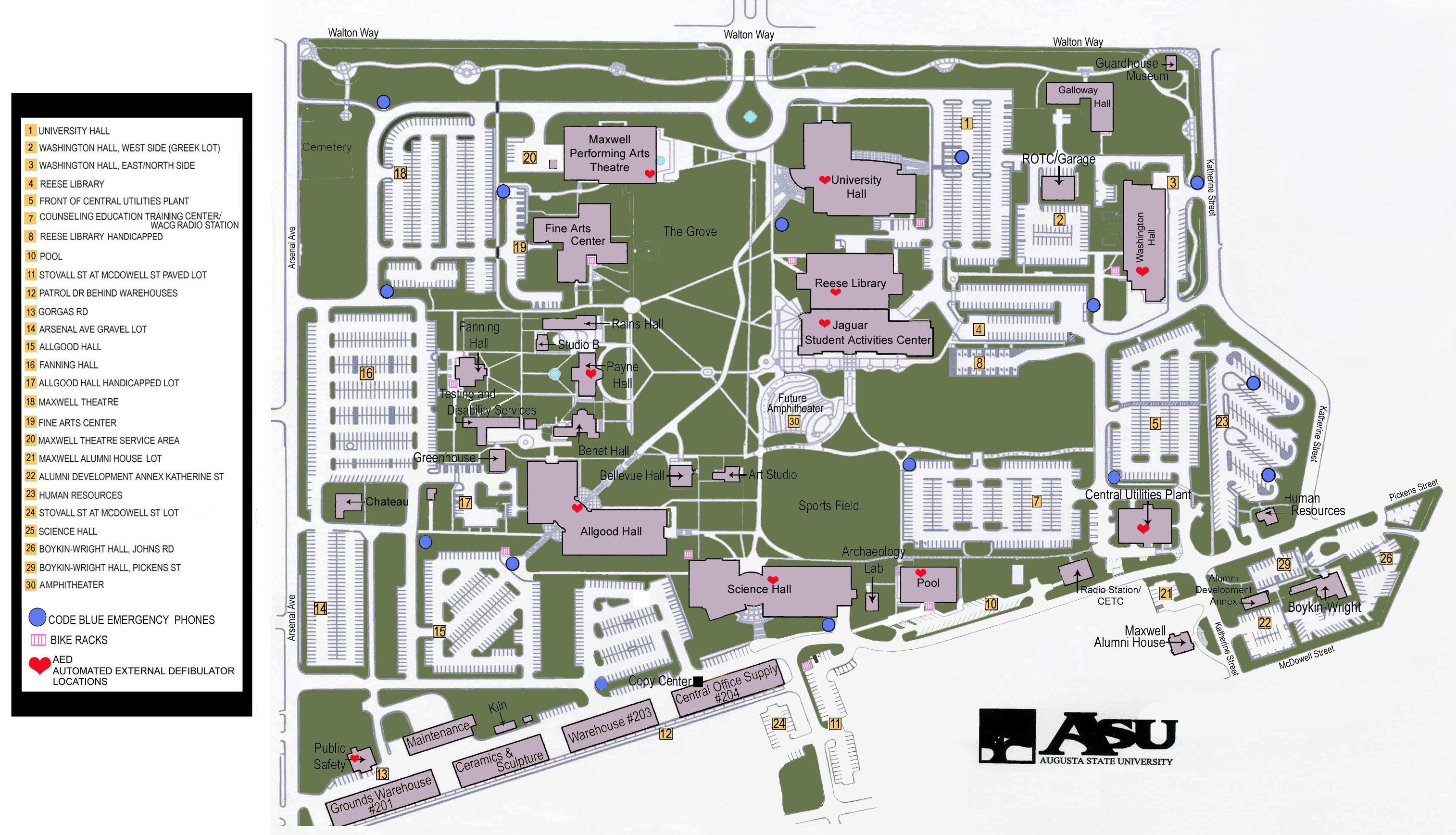 Augusta State University Map 2500 Walton Way Augusta GA mappery