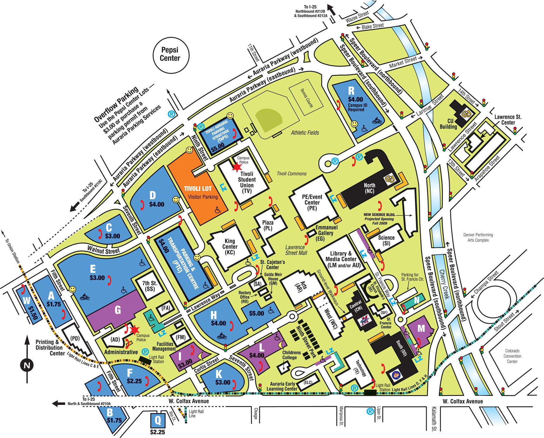 Auraria Campus Map   Auraria Denver CO • mappery
