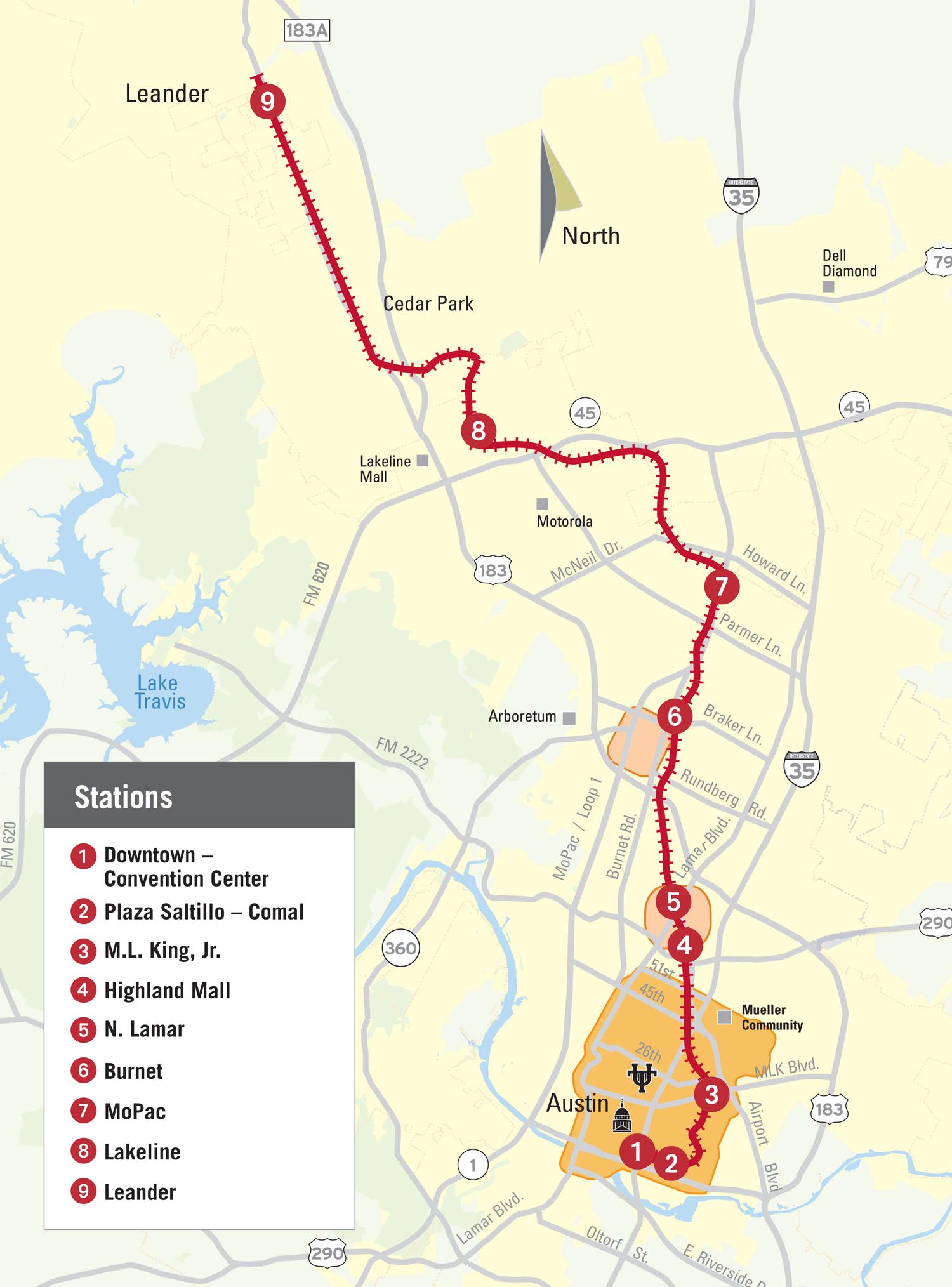 Austin MetroRail Map  Leander TX USA  Mappery